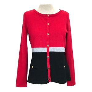 Karen Scott Color Block Cardigan Sweater PL